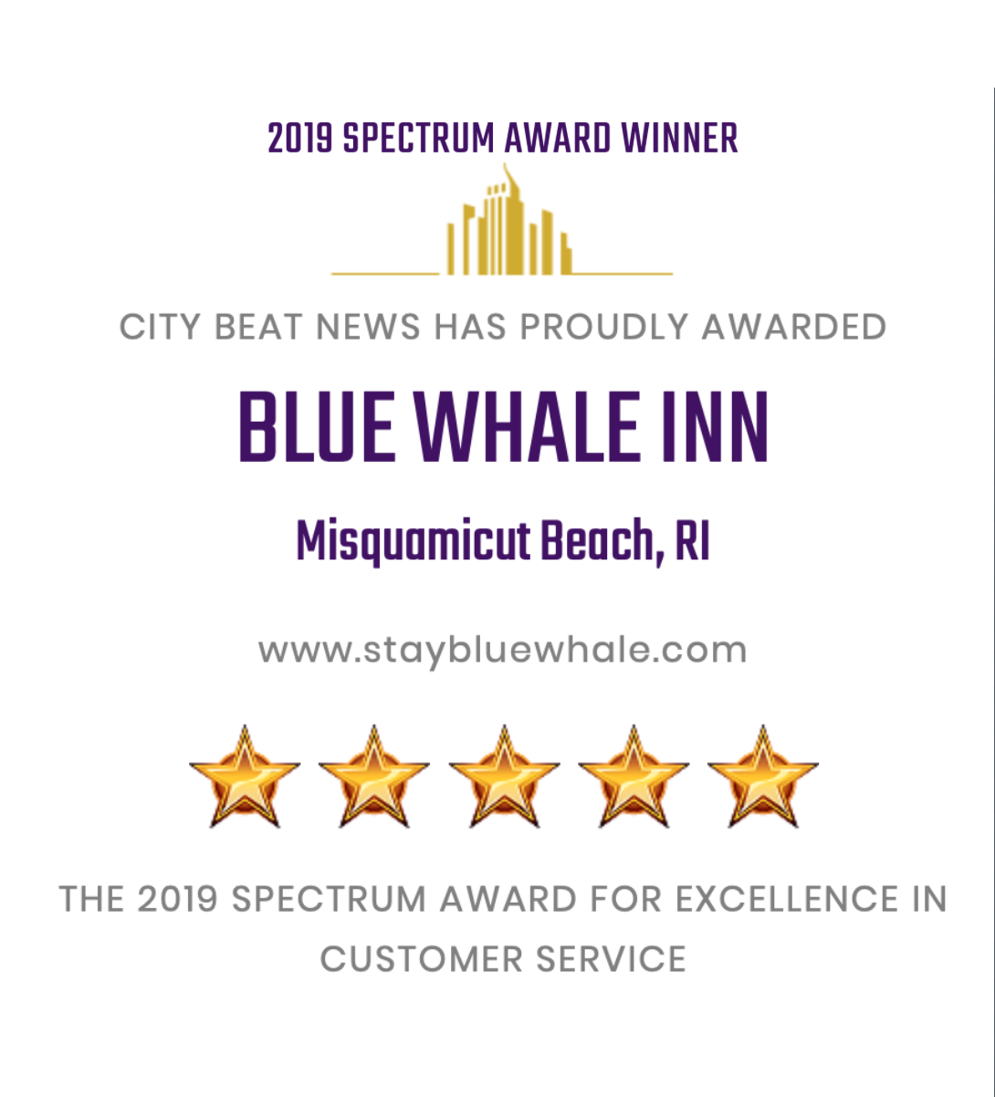 2019 Spectrum Award for Excellence in Customer Service Blue Whale Inn