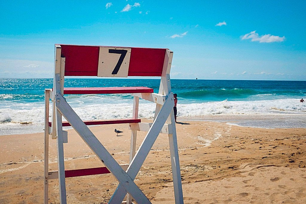 Lifeguard chair number 7 at Misquamicut Beach, Rhode Island.